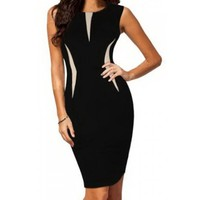 Sexy Sleeveless Round Neck Color Block Women's Bodycon Dress | Kitty's Clawset