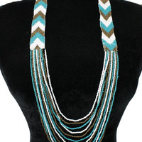 AZTEC Trendy Chevron Seedbead Long Necklace Beaded Fashion Turquoise Brown White Bead Costume Jewelry Gift