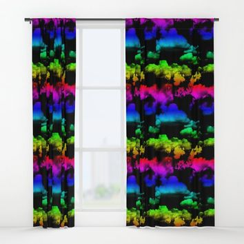 Rainbow Clouds Pattern on Black by WickedRefined - Nicole Demereckis