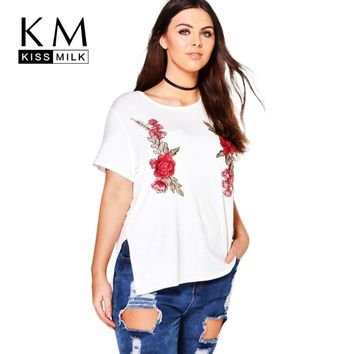 Kissmilk Women Big Size Tops Rose Embroidery Basic T-shirt O-Neck Plus Size Shirts Oversize Tees 4XL 5XL 6XL