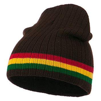 Center Striped Rasta Short Beanie - Brown OSFM