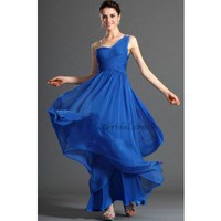 A-Line One-Shoulder Floor-Length Chiffon Prom Dress SAL1046