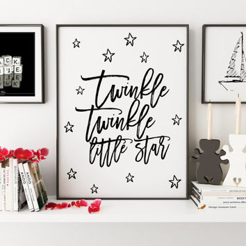 PRINTABLE Art,Twinkle Twinkle Little Star,Nursery Girls Decor,Nursery Print,Gift For Her,Children Wall Art,Kids Gift,Typography Print,Quotes