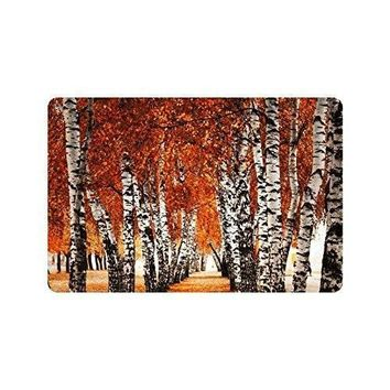 Charm Home Autumn Birch Forest Anti-slip Door Mat Home Decor, Fall Prime Indoor Outdoor Entrance Doormat Rubber Backing