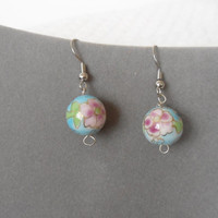 Blue Pink Green Gold Flower Hand Painted Glass Bead Dangling Earrings hanging drop hippie boho gypsy bohemian southwest sundance cowgirl