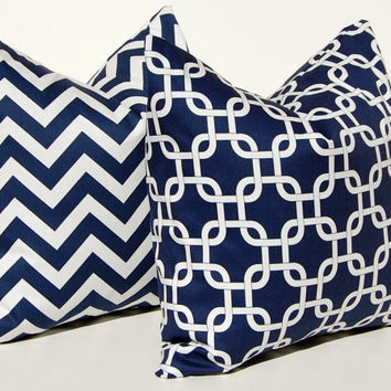 Decorative Throw Pillow Covers Navy Blue Cushion Covers 20 x 20 Inches - Navy Blue Gotcha Chain Link and Chevron Navy Blue Pillows