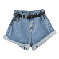 Light Blue Oversized Roll Up High Waist Shorts - Choies.com