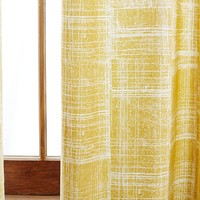 Cotton Canvas Etched Grid Curtain - Horseradish