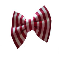 Girls red and white striped hair bow - toddler candy stripes bows - back to school accessories - cute spring hair clip