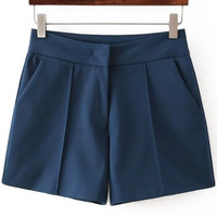 Navy High Waist Straight Shorts