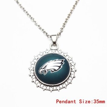 3pcs/lot Philadelphia Eagles Glass Sunflower Pendant Necklace Football Team Silver Chains Necklace For Sports Necklace Jewelry
