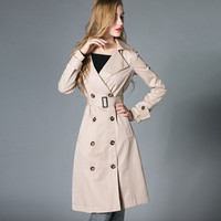 Beige Long-Sleeve Notched Belted Trench Coat