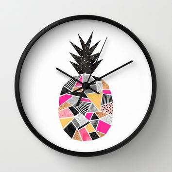 Pretty Pineapple Wall Clock by Elisabeth Fredriksson | Society6