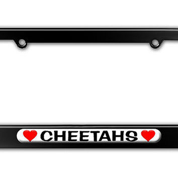 Cheetahs Love with Hearts Metal License Plate Frame