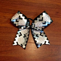 Black and Metallic Chevron Volleyball Bow