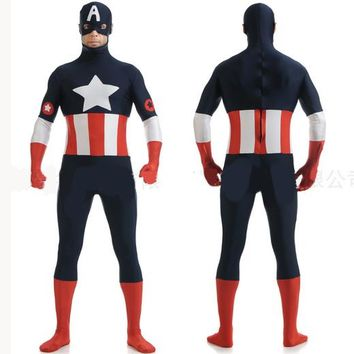 Adult Captain America Costume Superhero Movie Zentai Suit Cosplay Clothing Custom Made Party Carnival Halloween Costume For Men