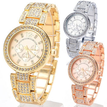 Unisex Womens Ladies Stylish Stainless Steel Rhinestone Quartz Wrist Watch  tm = 1956391428