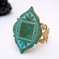 Arabian Medallion Verdigris Patina by TiffanySaxtonJewelry on Etsy