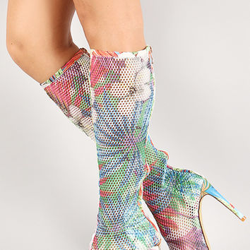 Tropical Floral Mesh Peep Toe Stiletto Boot