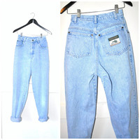 early 90s BOYFRIEND jeans / high waisted LIGHT WASH denim vintage mom jeans 25 26 small