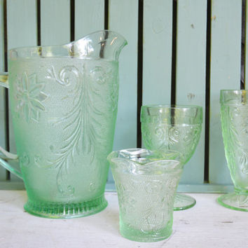 Vintage Pitcher and Glasses, 17 Piece Anchor Hocking Depression Glass, Chantilly Green Sandwich Serving Set, Barware