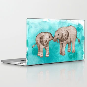 Baby Elephant Love - sepia on watercolor teal Laptop & iPad Skin by Perrin Le Feuvre