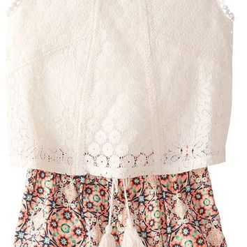 My Michelle Big Girls' Romper with Lace Popover and Printed Shorts, Multi, Medium