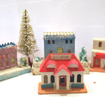 4 Tropical  Houses Putz Christmas Village Cardboard from Japan with Mica Windows