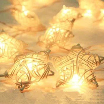 20 Rattan Balls Lights Latterns Stars 2.6m Holiday LED String Lights Wedding Party Christmas Garden Home Decorative Lights