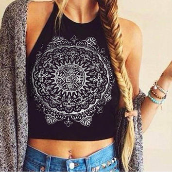 Feitong Sexy Bustier Crop Tops For Women 2016 Summer Fashion Sleeveless Blackless Mandala Print Fitness Short Halter Tank Tops