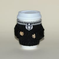Raiders fan coffee cozy. NFL Oakland California. Black gray Hand knit cup sleeve Football travel mug cozy Office coffee Starbucks cup holder