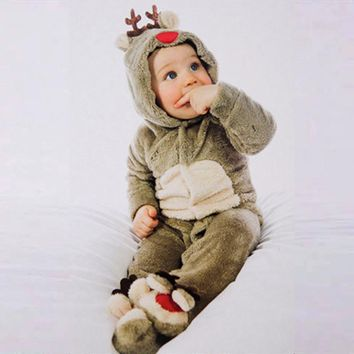 Unisex Baby Rompers Fleece Newborn Baby Clothes Long Sleeve Cartoon deer Infant Jumpsuit Toddler Kids Christmas Costume
