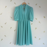 vintage 80s does 50s dress / tiffany blue / tiny white pattern / robin's egg blue / small / medium