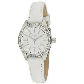 FOSSIL® White Women's Leather Quartz Watch with Crystals