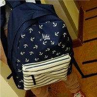 Navy Style Canvas Backpack with Anchor