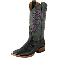 Lucchese Black Hornback Caiman-12 Purple Inlay Top Cowgirl Boots