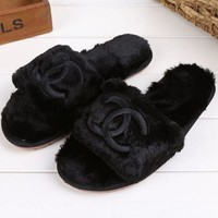 Chanel Wool Lady Fashion Casual Red Sandals Slippers F Black