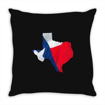 Eroded Texas Map With Flag Throw Pillow