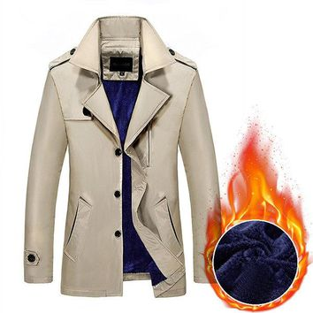 Business Thick Fleece Lining Casual Trench Coat for Men