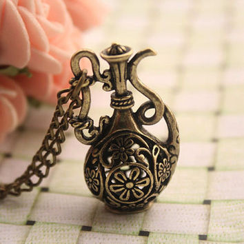 Water bottle necklace,retro bronze 3D Water bottle pendant necklace---N080