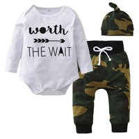Newborn Baby Boys Clothing Set Long Sleeve Letter Romper+Camouflage Pants+Hat Infant 3pcs Suit Baby Girl Clothes