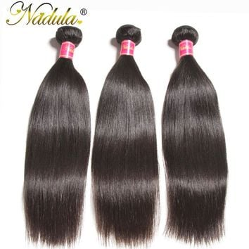 Nadula Hair 3/4pcs/lot Peruvian Straight Hair Weaves 8-30INCH 100% Human Hair Extensions Remy Hair  Free Shipping