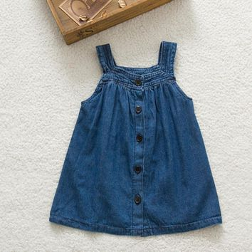 Kids Baby Girls Strap Jean Denim Bow Cowboy Summer Vest Dress 0-3Y RZ