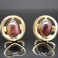 Tiger Eye Cuff Links Modernist Sterling Silver 925 Gilted Gold Overlay Toggle Cufflinks Purple Tigers Eye Mid Century