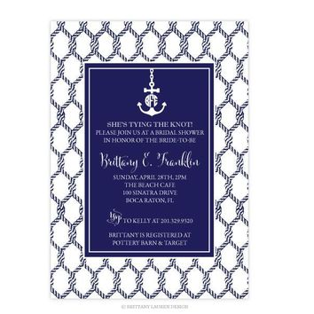 Preppy Nautical Party/Shower Invitations - Set of 15 - Monogram Anchor and Ropes -
