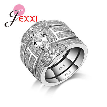 JEXXI Luxury Pretty Girl Party Wedding Engagement Rings Sets Women 3 Pieces Leaf Design White Cubiz Zircon 925 Sterling Silver
