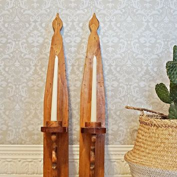 Vintage 60's Handmade + Wood Candle Wall Sconces