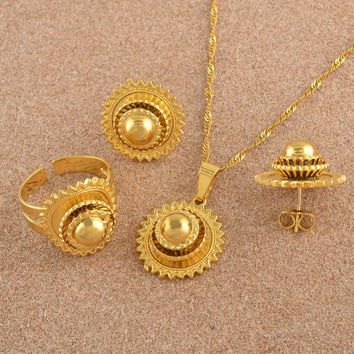 Gold Color Ethiopian Necklace Earrings Ring African Bridal Jewellery sets Habesha Eritrea Wedding Small Jewelry set #J0749