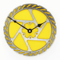 Mountain Bike Rotor Wall Clock - Yellow
