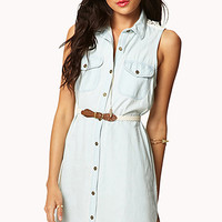 Crocheted Denim Shirt Dress w/ Belt